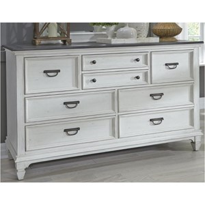 Cottage 8 Drawer Dresser with Antique Pewter Hardware