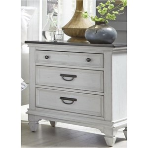 Cottage 3 Drawer Night Stand with Built In Charging Station