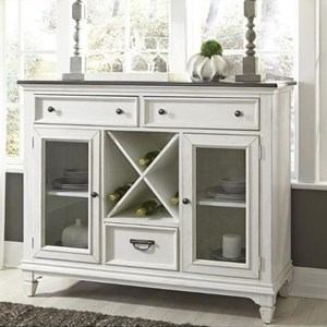 Transitional 3 Drawer 2 Door Buffet with Wine Bottle Storage
