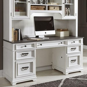 Transitional Two-Toned Credenza Desk