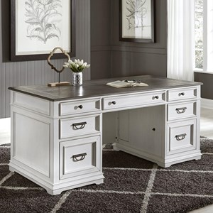 Transitional Two-Toned Executive Desk