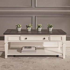 Transitional Two-Toned Rectangular Cocktail Table