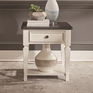 Transitional Two-Toned Drawer End Table