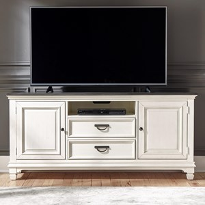 "Transitional 66"" TV Console with Wire Management"