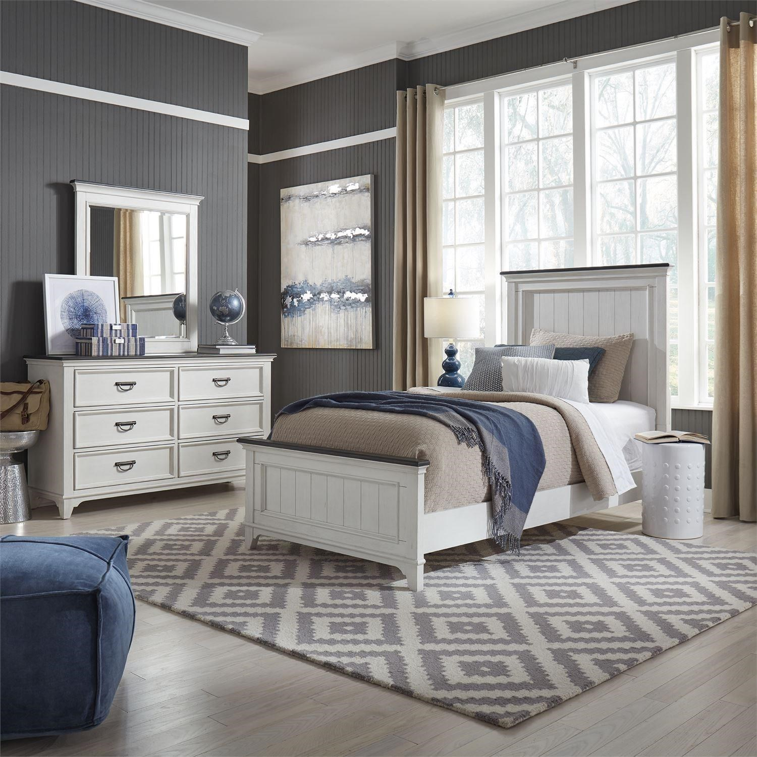 Allyson Park Twin Panel Bed, Dresser & Mirror by Liberty Furniture at Home Collections Furniture