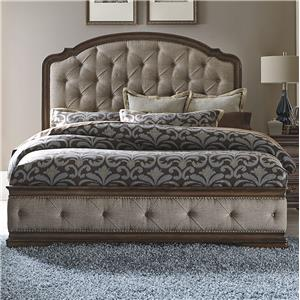 Traditional King Upholstered Bed with Button Tufting