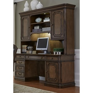 Traditional Executive Credenza with Adjustable Task Lighting