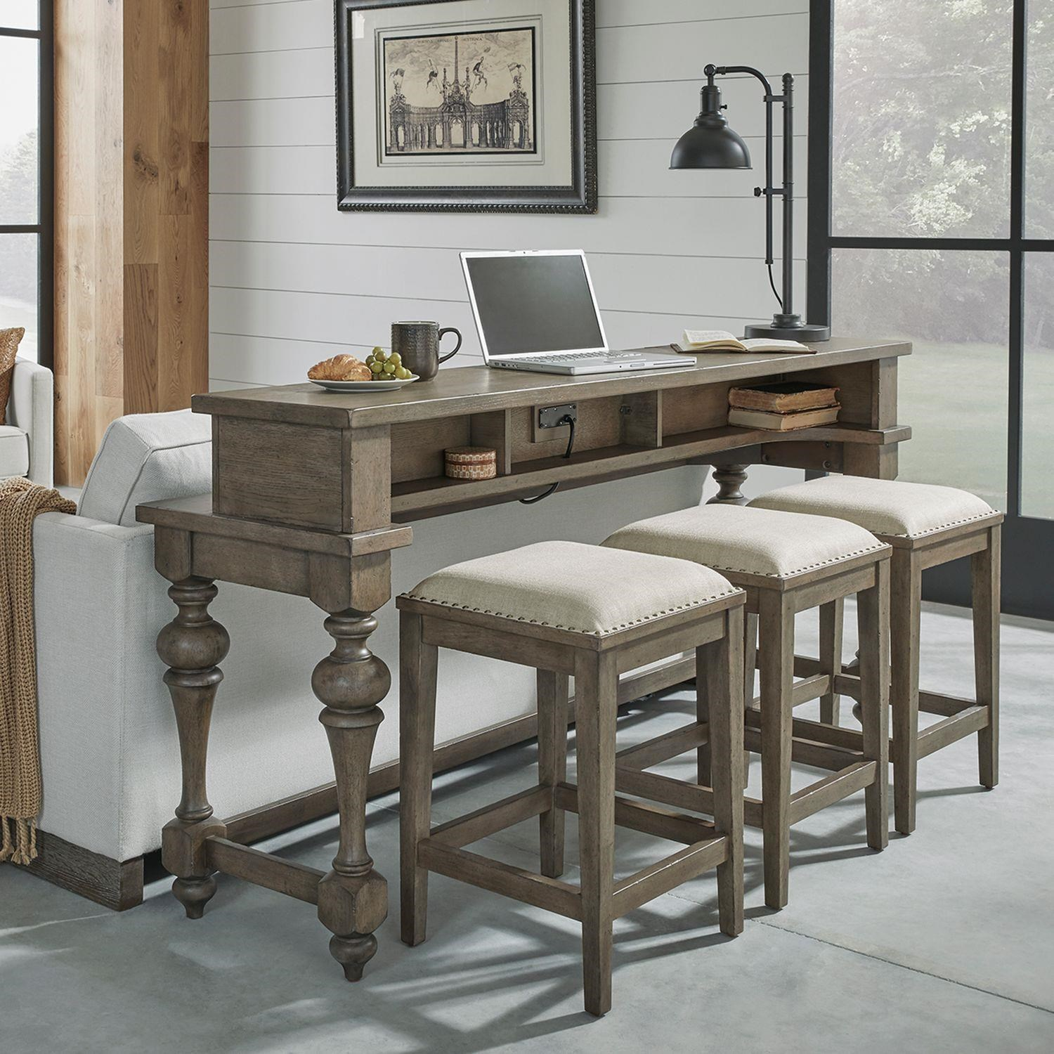 Americana Farmhouse Console Table and Stools by Liberty Furniture at Johnny Janosik