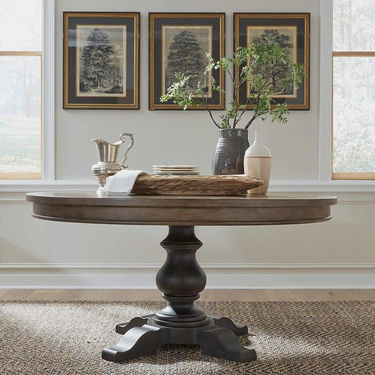 Americana Farmhouse 60 Inch Round Pedestal Table by Liberty Furniture at Johnny Janosik