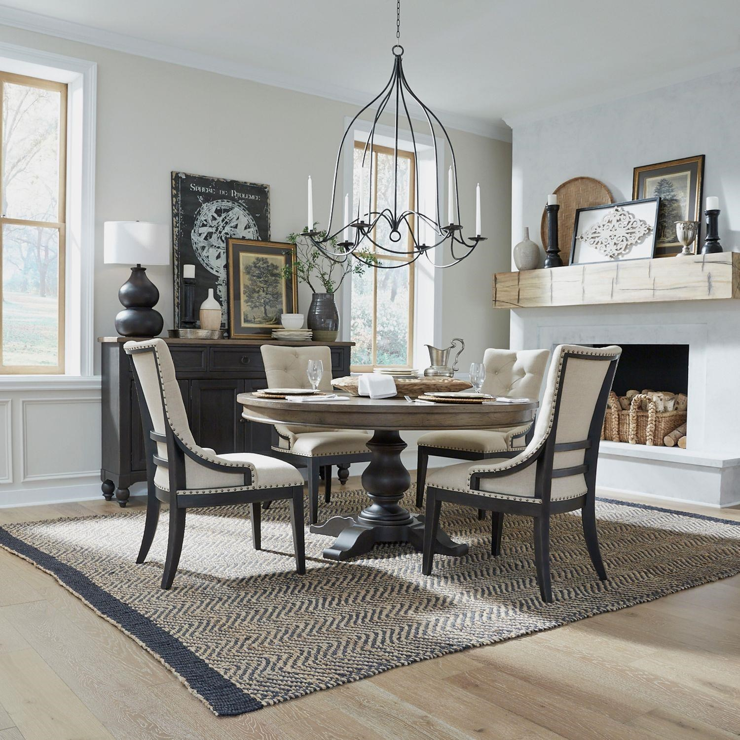 Americana Farmhouse Round Table and Upholsered Chair by Liberty Furniture at Johnny Janosik