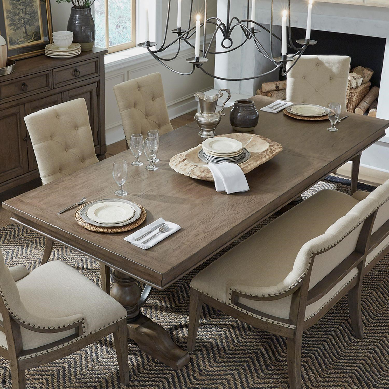 Americana Farmhouse Table, Chair, And Bench by Liberty Furniture at Johnny Janosik