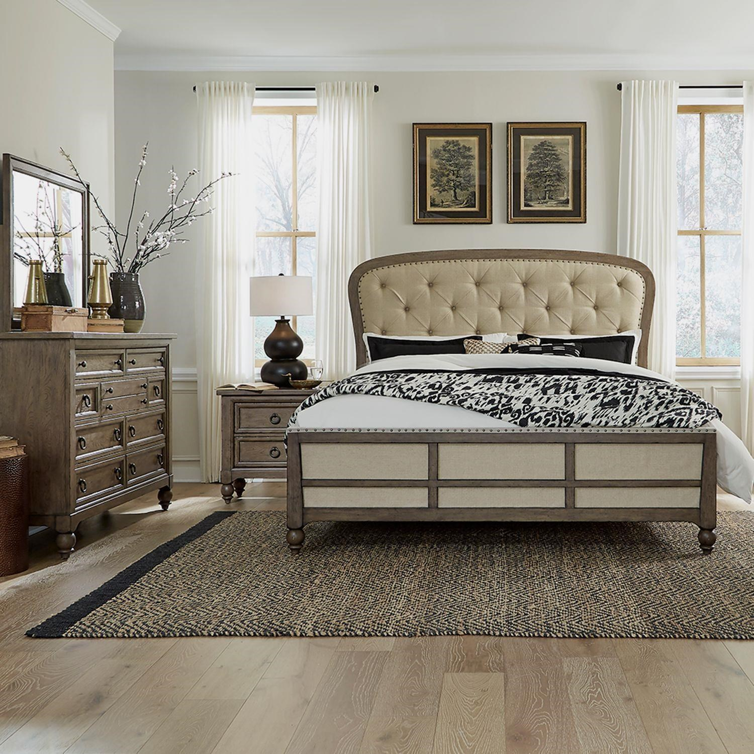 Americana Farmhouse Queen Tufted Bed Dresser, Mirror, Nightstand by Liberty Furniture at Johnny Janosik