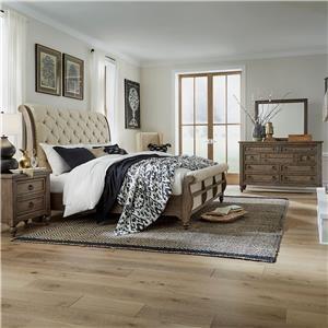 Queen Sleigh Bed, Dreser, Mirror, Nightstand