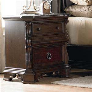 2 Drawer Nightstand with Ornate Moulding and Burnished Brass Hardware