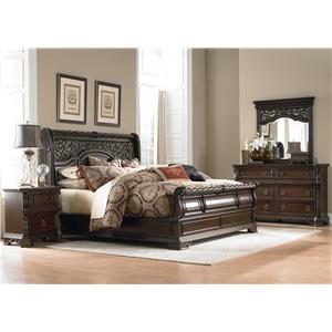 Queen Sleigh Bed, Dresser, Mirror & Nightstand