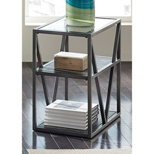Chair Side Table with Glass Top