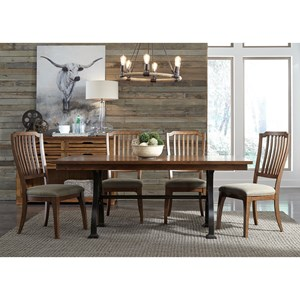 Rustic 5 Piece Trestle Table Set with Metal Base