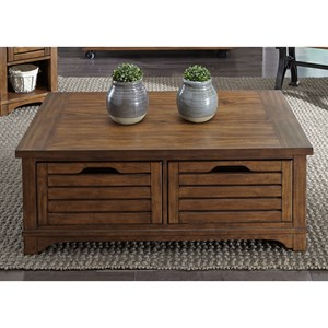 Mission 2-Drawer Cocktail Table with Full-Extension Drawers