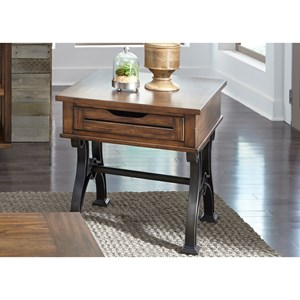 Industrial Drawer End Table with Metal Trestle Base