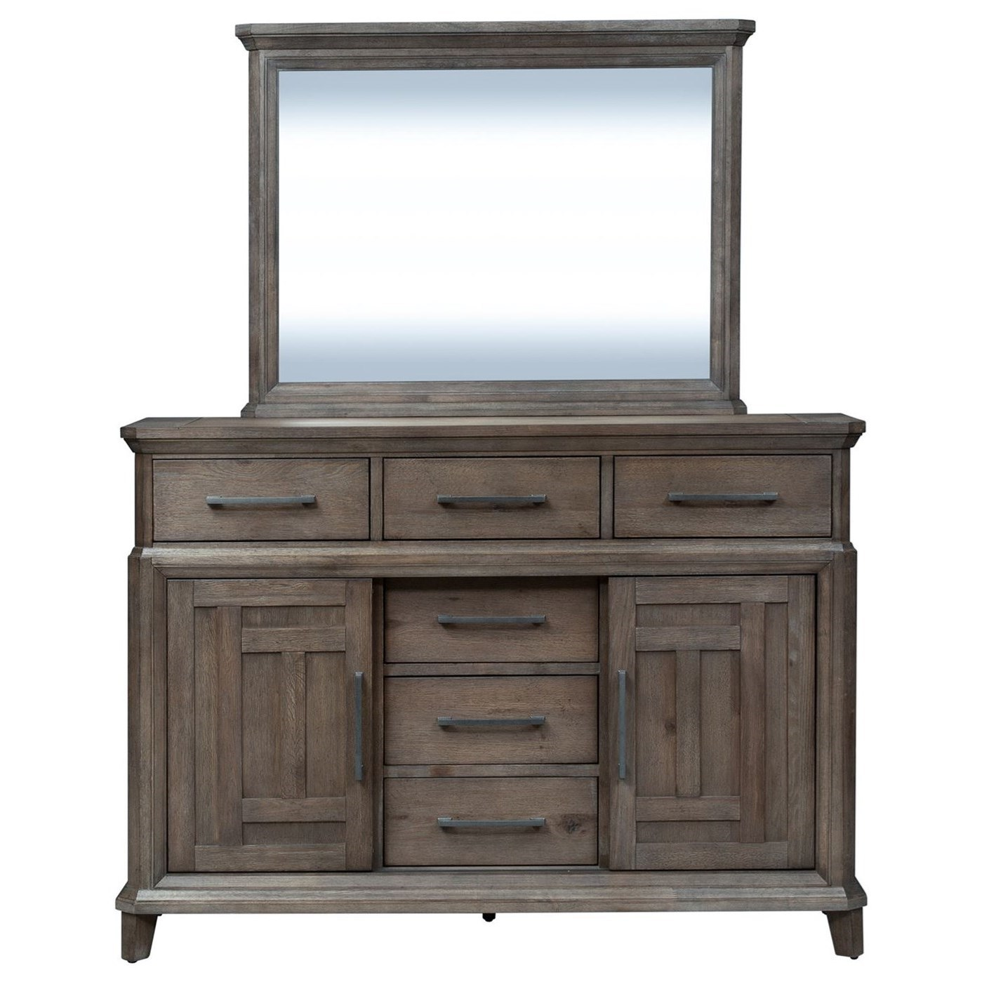 Artisan Prairie 6 Drawer 2 Door Dresser with Mirror by Liberty Furniture at Catalog Outlet