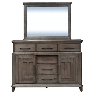 6 Drawer 2 Door Dresser with Mirror