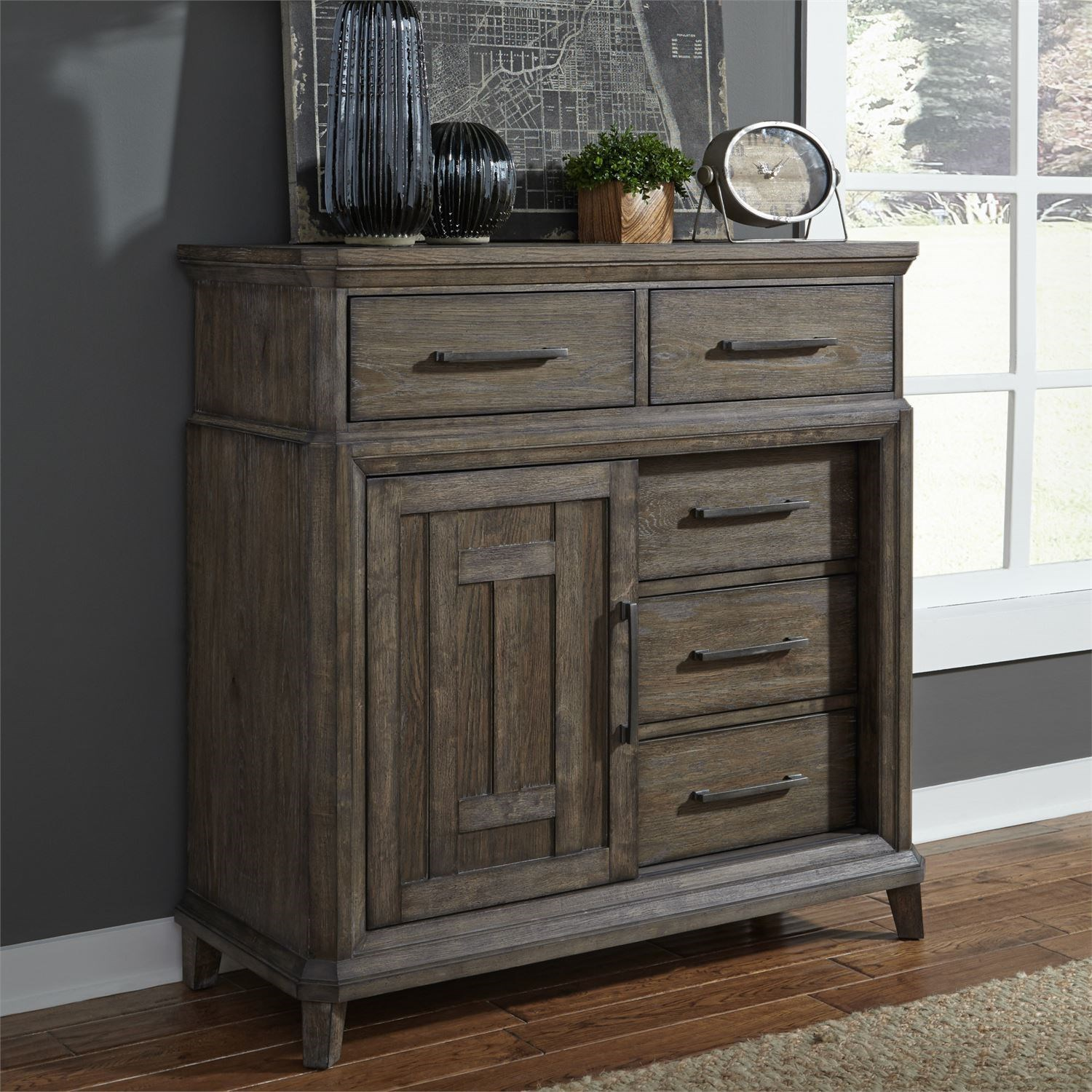 Artisan Prairie 5 Drawer Chest with Doors by Liberty Furniture at Zak's Home