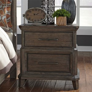 Transitional 2 Drawer Nightstand with Charging Station