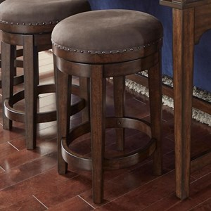 Swivel Barstool with Upholstered Seat and Nailhead Trim