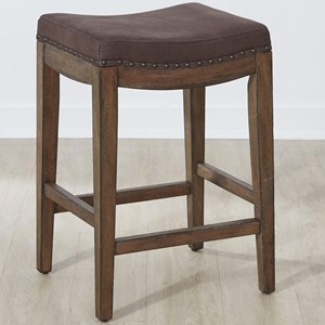 Upholstered Barstool with Nailhead Trim