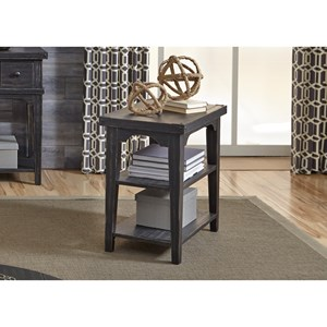 Industrial Casual Chairside End Table with 2 Shelves