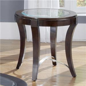 Glass Top Oval End Table
