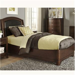 Twin Bed with Arched Leather Headboard