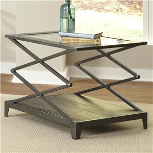 Glass Top End Table with Scissor-Lift Frame