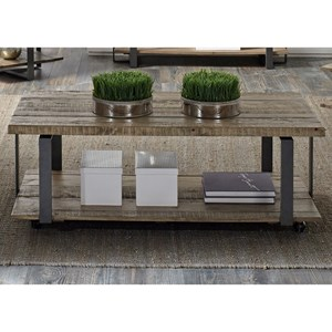 Rectangular Cocktail Table with Shelf & Casters