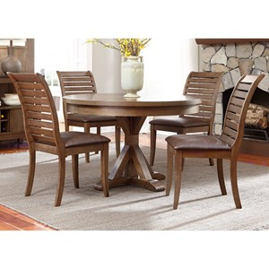 5 Piece Round Table Set with Cushioned Chairs
