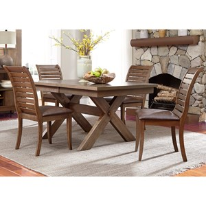 5 Piece Trestle Table Set with Cushioned Chairs