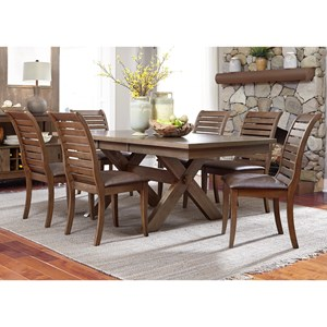 7 Piece Trestle Table Set with Cushioned Chairs