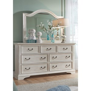 Transitional Dresser With Dust Proof Drawers & Mirror