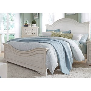 Transitional King Panel Bed with Arched Panel Headboard