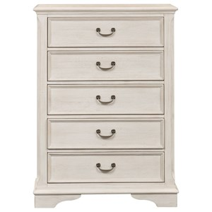 Transitional 5 Drawer Chest with Dust Proof Drawers