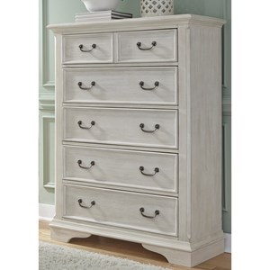 Transitional 5 Drawer Chest with Bead Molding