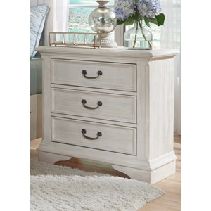 Transitional 3 Drawer Night Stand with Fully Stained Interior Drawers