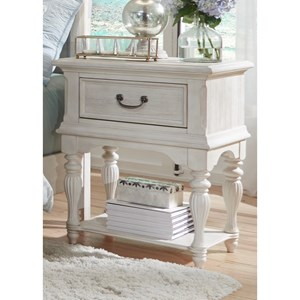 Transitional Leg Night Stand with Fully Stained Interior Drawers