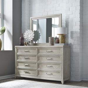 Contemporary 8-Drawer Dresser & Mirror