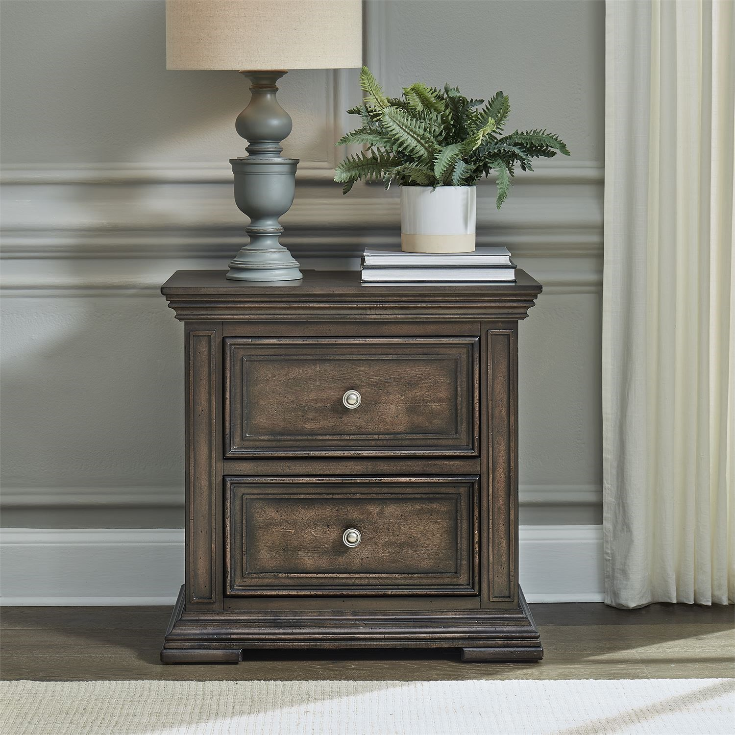 Big Valley 2-Drawer Night Stand with Charging Station by Liberty Furniture at Zak's Home