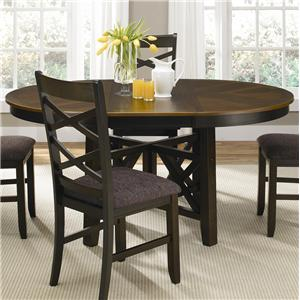 Round-to-Oval Single Pedestal Dining Table with 18-Inch Butterfly Leaf