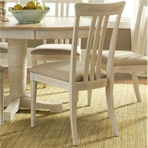 Coastal Slat Back Side Chair with Upholstered Seat
