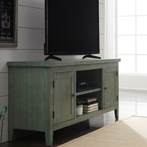 "Rustic 60"" TV Console with Adjustable Interior Shelving"