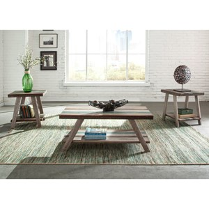 3 Pack Occasional Tables with Multi-Colored Slat Table Tops
