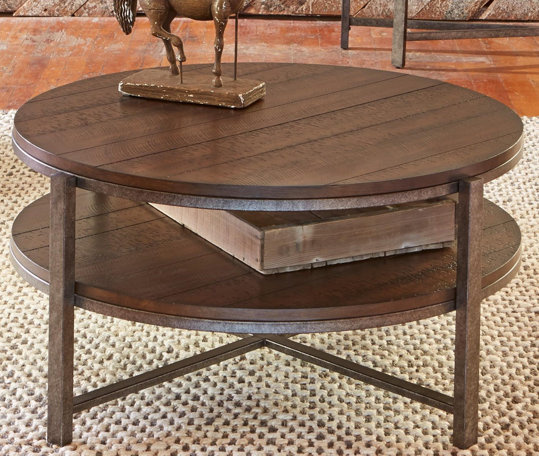 Breckinridge Round Cocktail Table with Shelf by Libby at Walker's Furniture
